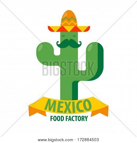 Mexican restaurant logo template of agave cactus or peyote in sombrero hat. Mexico food factory sign or bar vector isolated icon