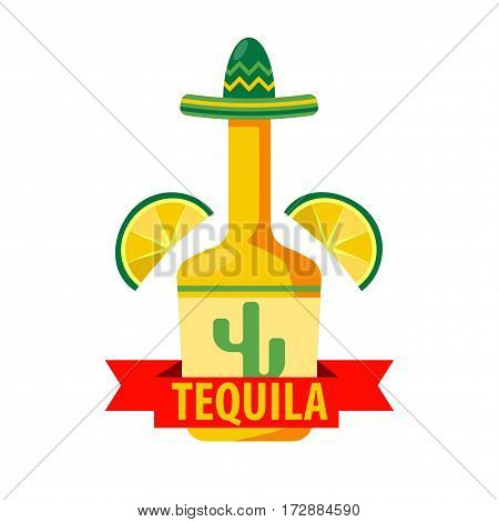 Mexican tequila bar or drink pub logo template. Vector sign of bottle in sombrero, lime or lemon slices and agave cactus. Vector isolated icon and ribbon sign