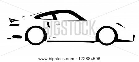 A fast car in silhouette over a white background