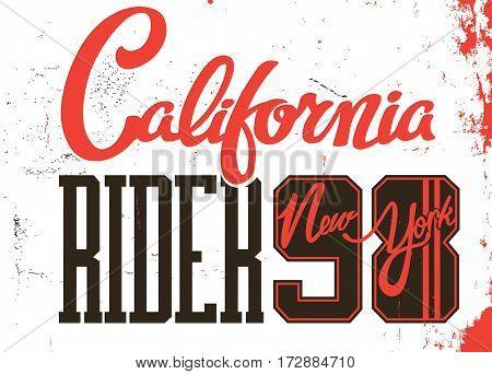 california rider new york lettering vector illustration