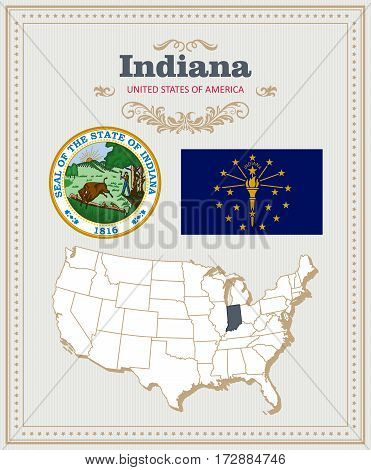High detailed vector set with flag, coat of arms, map of Indiana. American poster. Greeting card from United States of America. Colorful design