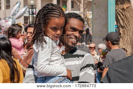 Happy Jewish Ethiopian Family Celebrate The Purim Holiday At Street Event
