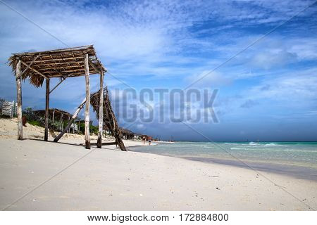 Beach hut torn down by hurricane in Cayo Santa Maria, Cuba