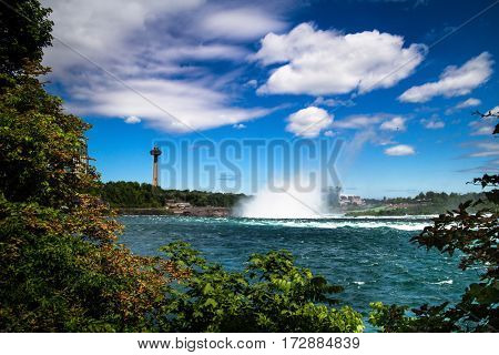 View of Niagara Falls city from west side of the Falls