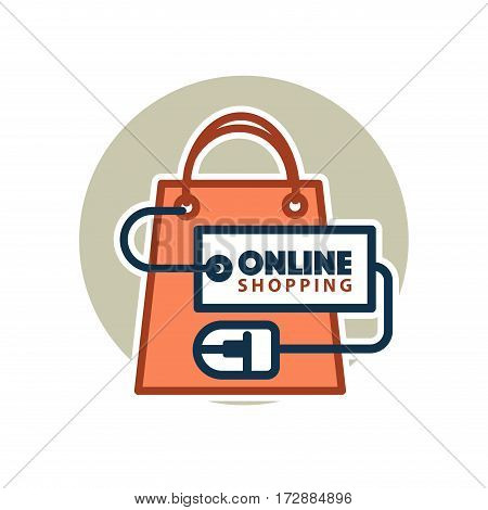 Online shopping logo template for web site design. Vector icon of shop or market bag connected to computer mouse