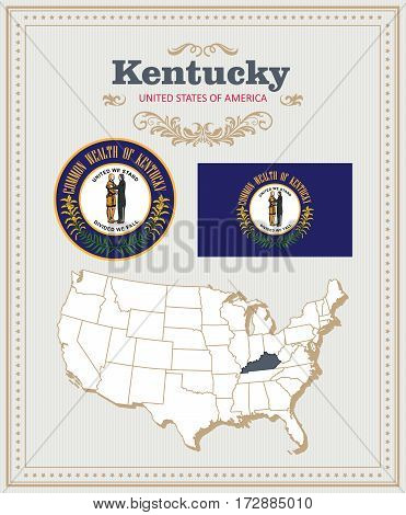 High detailed vector set with flag, coat of arms, map of Kentucky. American poster. Greeting card from United States of America. Colorful design