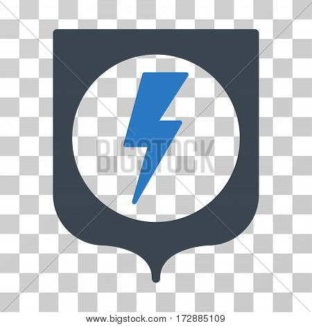 Electric Protection vector icon. Illustration style is flat iconic bicolor smooth blue symbol on a transparent background.