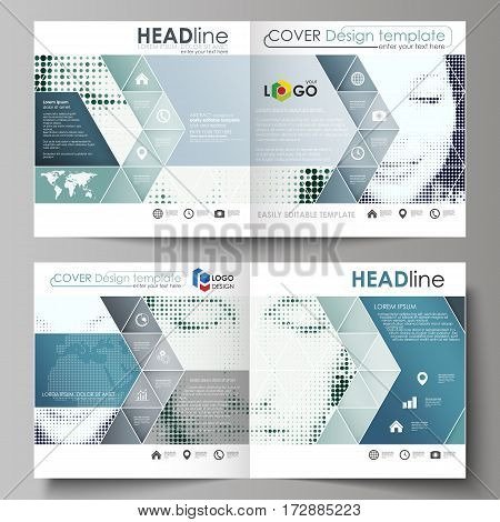 Business templates for square design bi fold brochure, magazine, flyer, booklet or annual report. Leaflet cover, abstract flat layout, easy editable vector. Halftone dotted background, retro style grungy pattern, vintage texture. Halftone effect with blac
