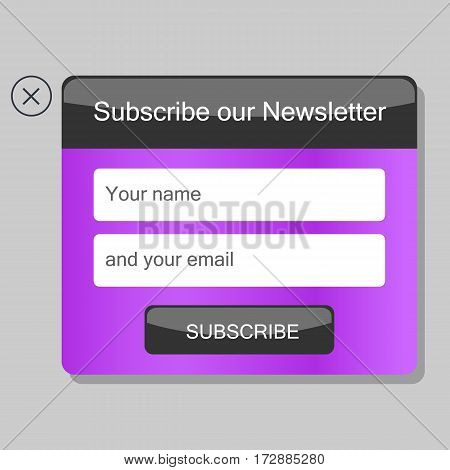 News subscription window. A vector element for website.