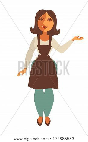 Saleswoman of shop or supermarket cashier seller in trade apron. Vector isolated flat icon