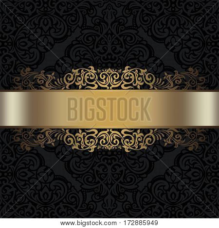 Vintage black background with decorative golden border and old-fashioned ornament. Black and gold style.