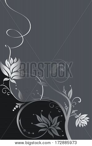 Black and silver floral background with elegant flowers. Book cover or greeting card design.