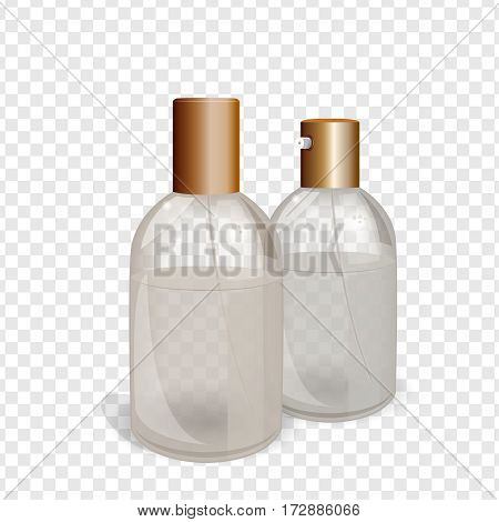 Transparent glass flacons with gold elements. Beautiful vector illustration in realistic style. Cosmetic, skin care or perfumery concept. Premium design template.