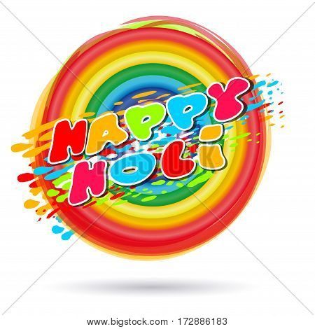 Rings painted in colors of the rainbow. Happy Holi. Rainbow colored ring isolated on white background.  Illustration of holi background with greeting inscription - Happy Holi. Vector illustration