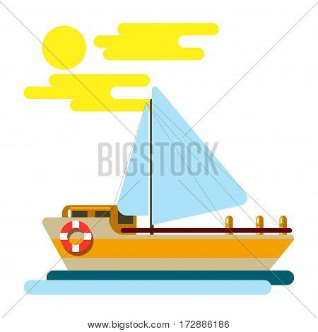 Summer vacation sea cruise yacht or ocean travel boat on waves vector flat template. Tourism and tropical paradise sailing journey adventure