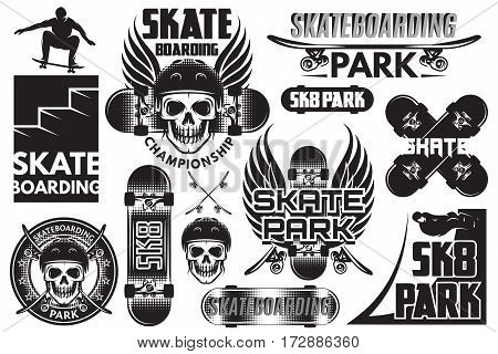Set of monochrome vector templates for skeytboarding with skull board wings and other elements