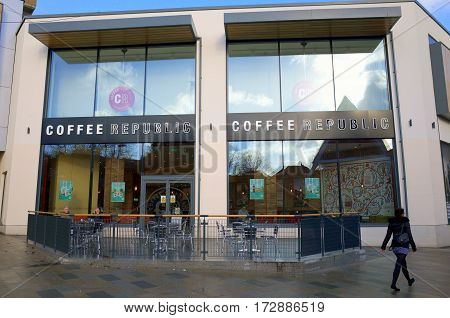 Bracknell, England - February 20, 2017: A pedestrian passes by the Coffee Republic shop in Bracknell,England. Started in 1995 they now have 28 stores across the UK