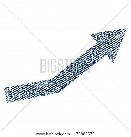 Growth Trend vector textured icon for overlay watermark stamps. Blue jeans fabric vectorized texture. Symbol with dirty design. Blue ink rubber seal stamp with fiber textile structure.