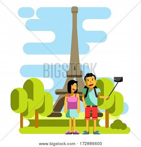 Young couple taking selfie near Eiffel Tower. Vector illustration in flat style of boy and girl visiting Paris and posing for phone camera on selfie stick. Tourist pair relaxing in France in summer