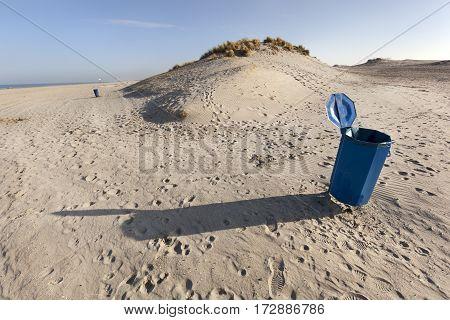 Garbage bin near the dunes in Hoek van Holland in the Netherlands