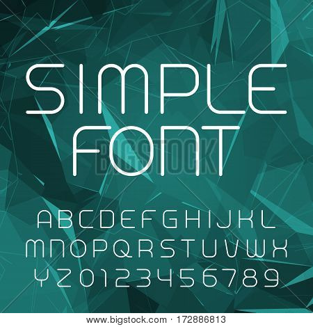 Simple alphabet vector font in outline style. Thin line letters and numbers on a polygonal background. Stock vector typeface for your design.