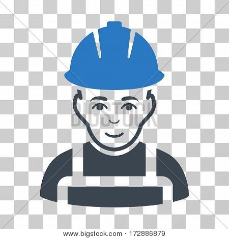 Glad Worker vector icon. Illustration style is flat iconic bicolor smooth blue symbol on a transparent background.