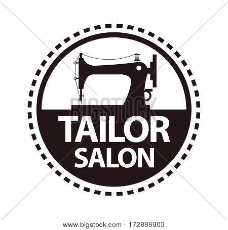 Tailor salon and dressmaker atelier or fashion dress designer shop vector logo template. Round isolated icon of sewing machine and thread stitch