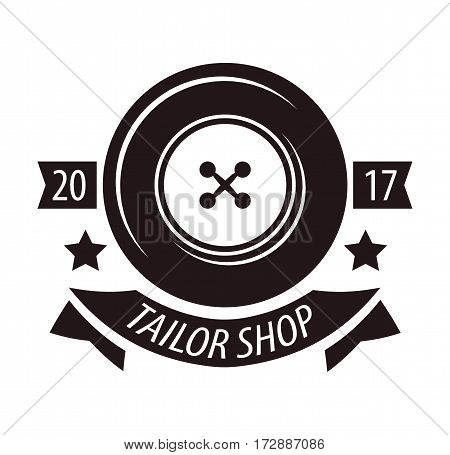 Tailor shop or dressmaker atelier or fashion dress designer salon vector logo template. Round isolated icon of sewing dress or shirt button, stars and ribbon