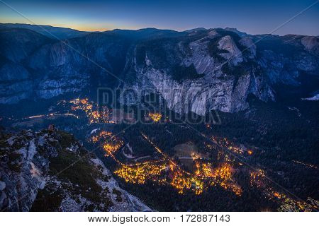 Yosemite Valley At Night, California, Usa
