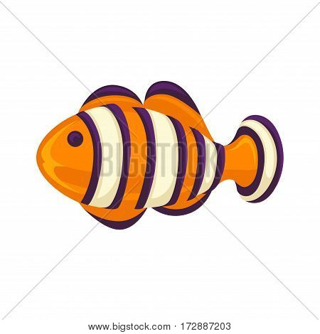 Anemone fish isolated on white. Clownfish in yellow, black and white Clownfish in yellow, black and white colors. Anemonefish fish icon, usually habitat at coral reefs. Aquarium fish realistic vector illustration in flat style design