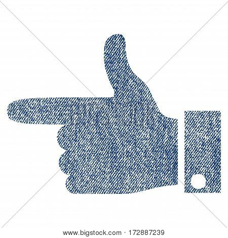Hand Pointer Left vector textured icon for overlay watermark stamps. Blue jeans fabric vectorized texture. Symbol with dirty design. Blue ink rubber seal stamp with fiber textile structure.