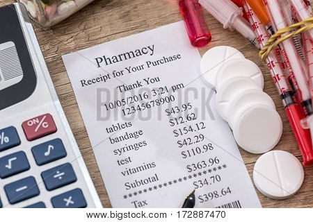 Shopping Receipts With Pills, Calculator On Desk.