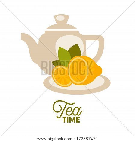 Tea kettle with lemons on saucer isolated on white. Vector illustration in flat design of non alcoholic beverage in white ceramic teapot. Tea time template logotype in flat style realistic design