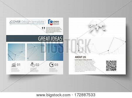 Business templates for square design brochure, magazine, flyer, booklet or annual report. Leaflet cover, abstract flat layout, easy editable vector. Geometric blue color background, molecule structure, science concept. Connected lines and dots.