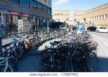 FLORENCE ITALY - FEBRUARY 06 2017: Bicycle parking near the railway station Firenze