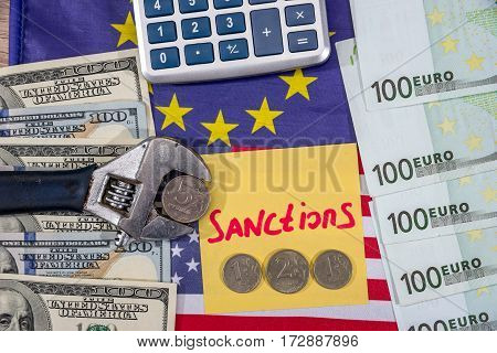 Inflation Ruble. Russian Sanctions. Euro And Dollar Vs Ruble. Flag.