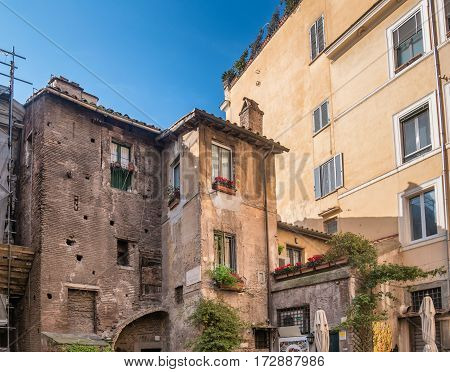 Old buildings in the jewish ghetto in Rome Italy
