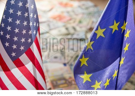 Us Dollar And Euro On Flags Of The United States And European Union.