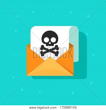 Email spam icon vector, scam e-mail message concept, malware alert received, internet hacking message, online phishing, open envelope with black skull bones on paper sheet document symbol