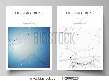 Business templates for brochure, magazine, flyer, booklet or annual report. Cover design template, easy editable vector, abstract flat layout in A4 size. Geometric blue color background, molecule structure, science concept. Connected lines and dots.