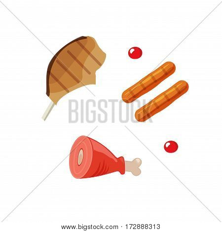 Cooked meat food vector illustration, grilled sausages, beef steak, gammon meal cartoon flat style isolated