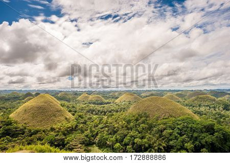 Chocolate hills landscape at Bohol, Philippines