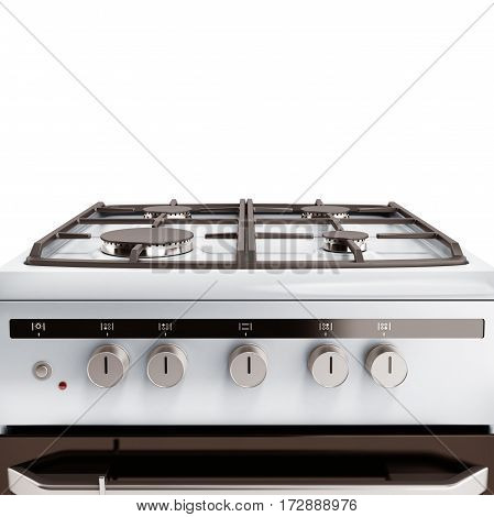 Gas Stove 3D Render Isolated On A White Background