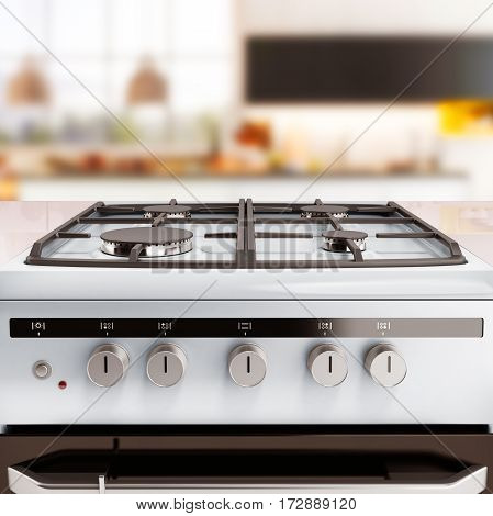 Gas stove 3d render kitchen background image