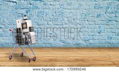 Home Appliances In The Shopping Cart E-commerce Or Online Shopping Concept Breack Background 3D Rend