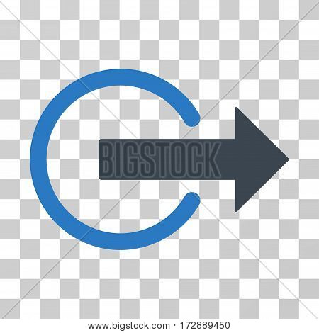 Logout vector icon. Illustration style is flat iconic bicolor smooth blue symbol on a transparent background.