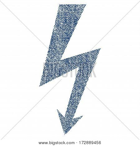 High Voltage vector textured icon for overlay watermark stamps. Blue jeans fabric vectorized texture. Symbol with scratched design. Blue ink rubber seal stamp with fiber textile structure.