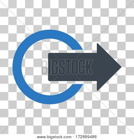 Logout vector pictogram. Illustration style is flat iconic bicolor smooth blue symbol on a transparent background.