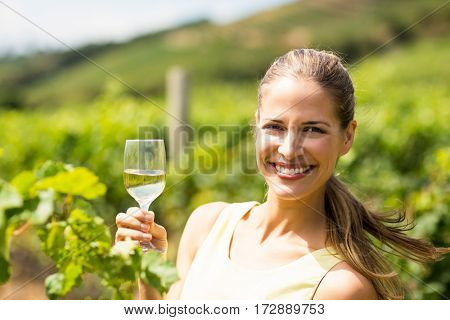 Portrait of female vintner holding wine glass in vineyard