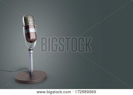 Vintage Silver Microphone On Grey Background 3D Render Image